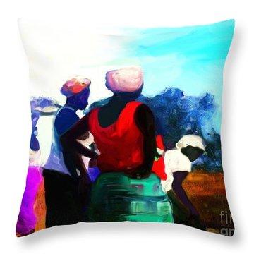 Throw Pillow featuring the painting Field Women by Vannetta Ferguson