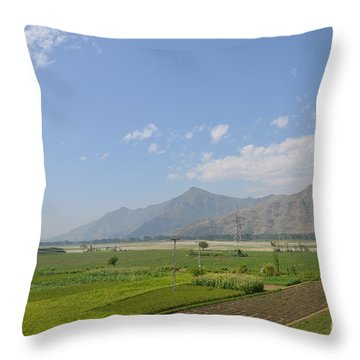 Throw Pillow featuring the photograph Fields Mountains Sky And A River Swat Valley Pakistan by Imran Ahmed