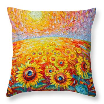 Fields Of Gold - Abstract Landscape With Sunflowers In Sunrise Throw Pillow