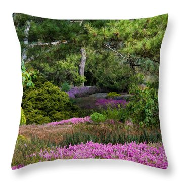Throw Pillow featuring the photograph Fields Of Heather by Jordan Blackstone