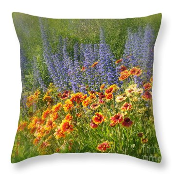 Fields Of Lavender And Orange Blanket Flowers Throw Pillow by Lingfai Leung