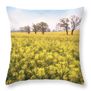 Fields Of Yellow Throw Pillow by Ron Harpham