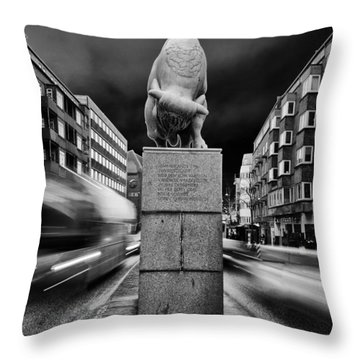 Bull Statue Throw Pillow
