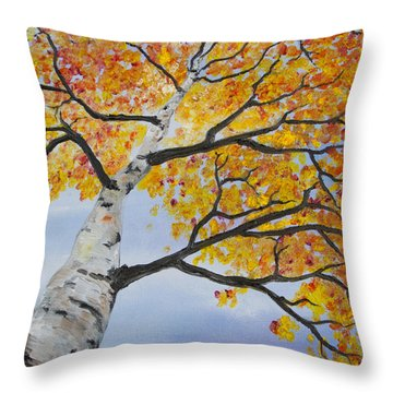 Fiery Aspen Throw Pillow