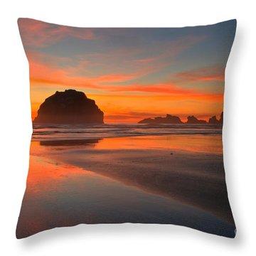Fiery Bandon Beach Throw Pillow by Adam Jewell