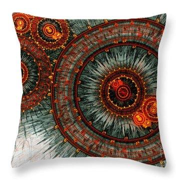 Fiery  Clockwork Throw Pillow by Martin Capek