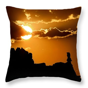 Fiery Desert Sky Throw Pillow