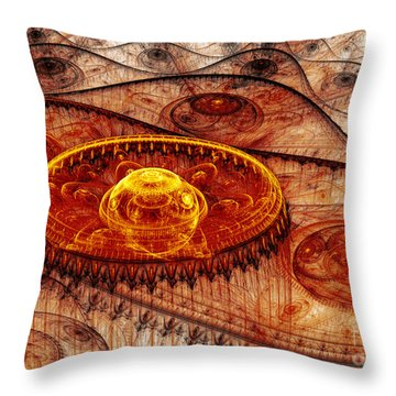 Fiery Fantasy Landscape Throw Pillow by Martin Capek