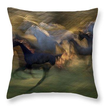 Running Horses Throw Pillows