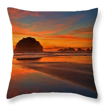 Fiery Ocean Stream Throw Pillow by Adam Jewell