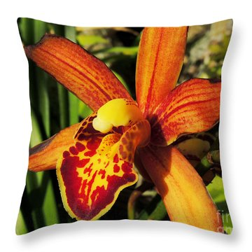 Fiery Orchid Throw Pillow