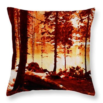 Fiery Red Landscape Throw Pillow