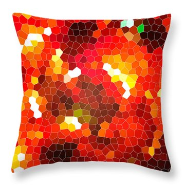 Fiery Red Stained Glass Throw Pillow by Gaspar Avila