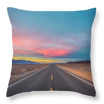 Fiery Road Though The Valley Of Death Throw Pillow