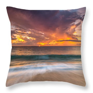 Fiery Skies Azure Waters Rendezvous Throw Pillow