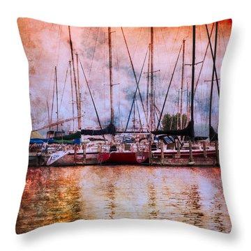 Fiery Skies Throw Pillow by Debra and Dave Vanderlaan