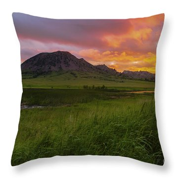 Fiery Sky Over Bear Butte Throw Pillow