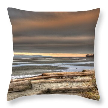 Fiery Sky Over The Salish Sea Throw Pillow