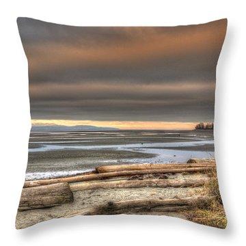 Fiery Sky Over The Salish Sea Throw Pillow