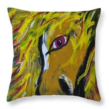 Fiery Steed Throw Pillow by JAMART Photography