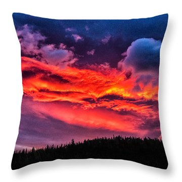 Fiery Sunrise At Glacier National Park Throw Pillow