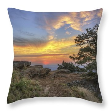 Fiery Sunrise From Atop Mt. Nebo - Arkansas Throw Pillow