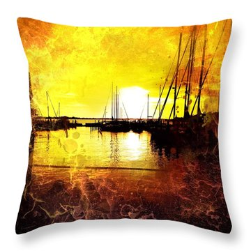 Fiery Sunset Throw Pillow by Beth Williams