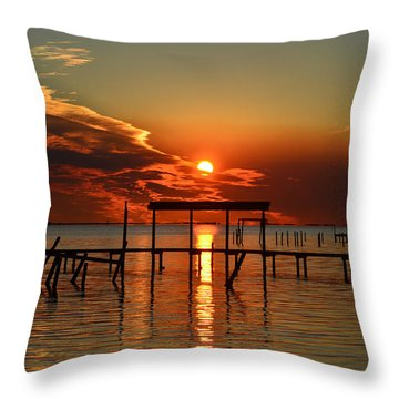 Fiery Sunset Colors Over Santa Rosa Sound Throw Pillow by Jeff at JSJ Photography