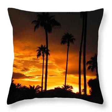Fiery Sunset Throw Pillow by Deb Halloran