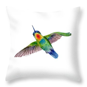 Fiery-throated Hummingbird Throw Pillow