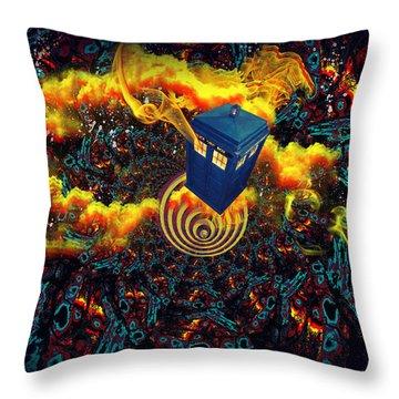 Fiery Time Vortex Throw Pillow