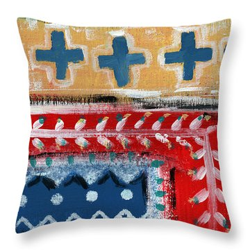 Fiesta 3- Colorful Pattern Painting Throw Pillow