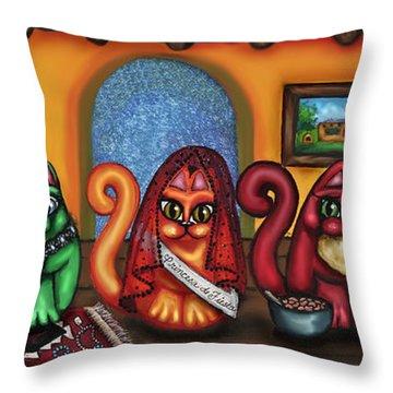 Fiesta Cats Or Gatos De Santa Fe Throw Pillow