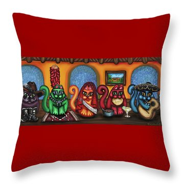 Fiesta Cats Or Gatos De Santa Fe Throw Pillow by Victoria De Almeida