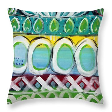Fiesta - Colorful Painting Throw Pillow by Linda Woods