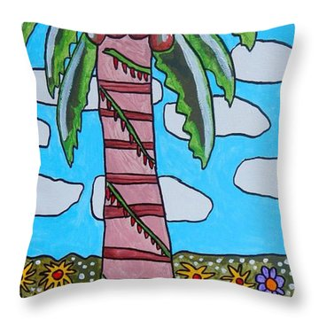 Throw Pillow featuring the painting Fiesta Flower Garden by Artists With Autism Inc