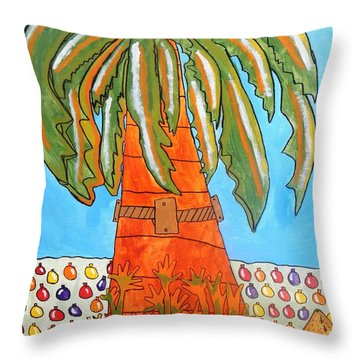 Throw Pillow featuring the painting Danette's Fiesta Palm  by Artists With Autism Inc