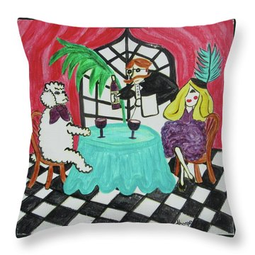 Fifi's Night Out Throw Pillow