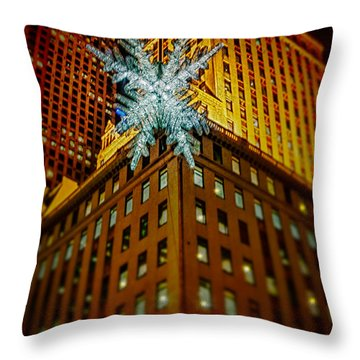 Throw Pillow featuring the photograph Fifth Avenue Holiday Star by Chris Lord