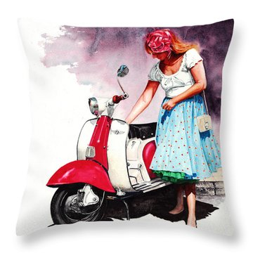 Fifties Lambretta Girl Throw Pillow