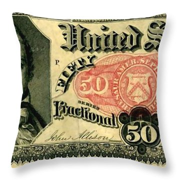 Fifty Cents 5th Issue U.s. Fractional Currency Fr 1381 Throw Pillow by Lanjee Chee