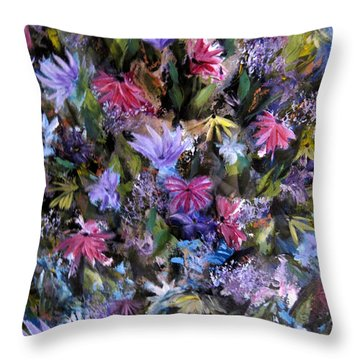 Fighting For Space Lll Flowerpatch Series Throw Pillow