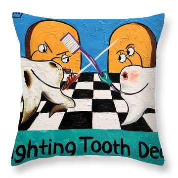 Fighting Tooth Decay Throw Pillow