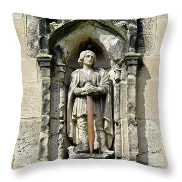 Figure Of St Wystan Above Porch Door Throw Pillow by Rod Johnson