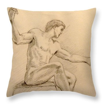 Figure On A Rock Throw Pillow by Sarah Parks