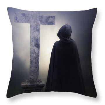 Figure On Graveyard Throw Pillow by Joana Kruse