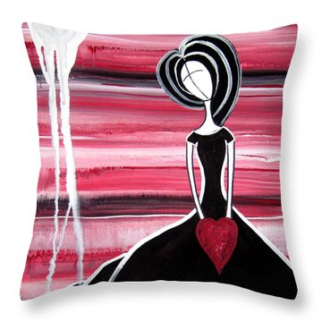 Figure Painting - I Hold Your Heart In My Hands Throw Pillow by Laura Carter