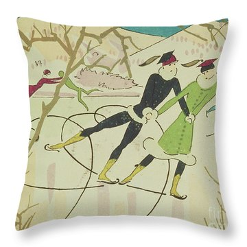 Figure Skating  Christmas Card Throw Pillow