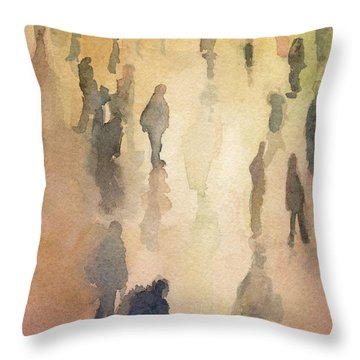 Figures Grand Central Station Watercolor Painting Of Nyc Throw Pillow by Beverly Brown