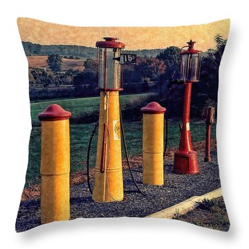 Fill 'er Up Vintage Fuel Gas Pumps Throw Pillow